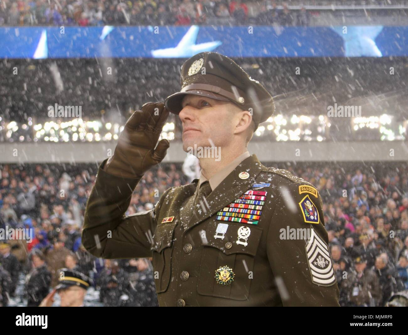 Sergeant Major Of The Army Dan Dailey Salutes The Anthem