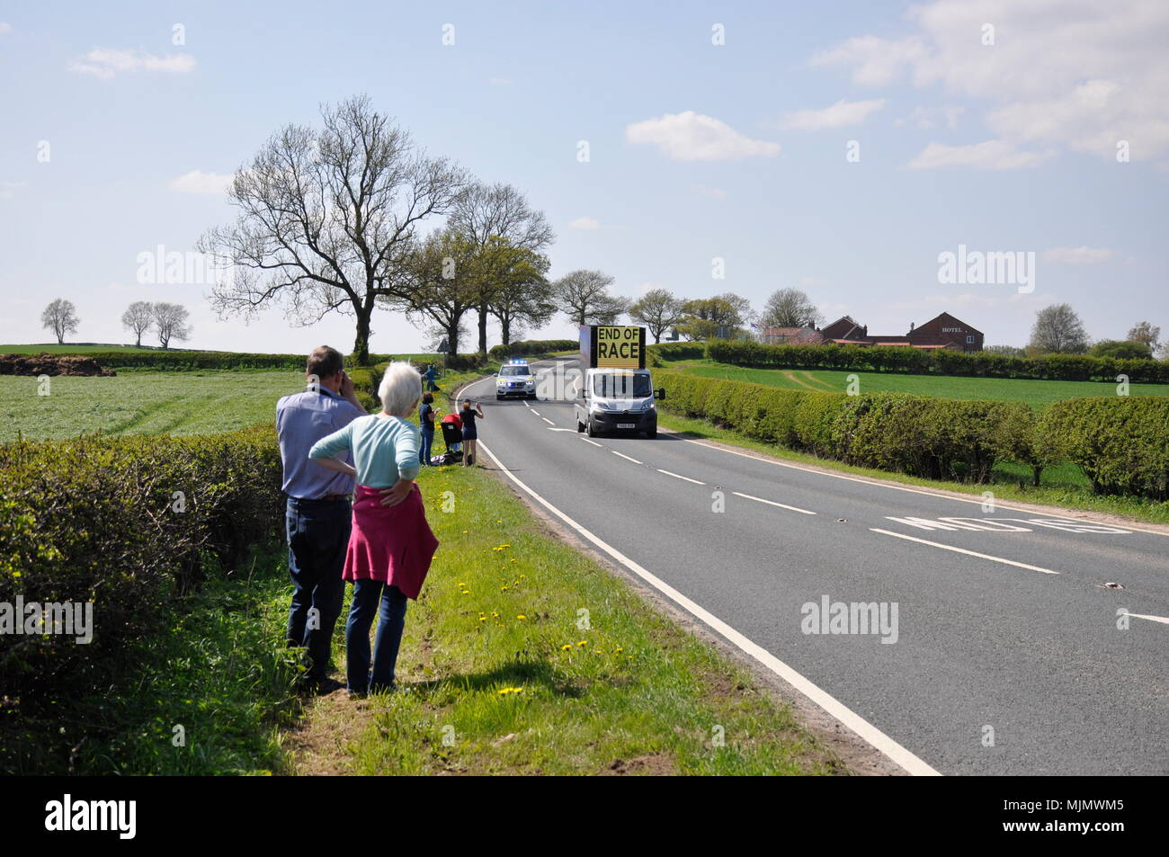 Watching tour de Yorkshire 2018 Stage 3 - Stock Image