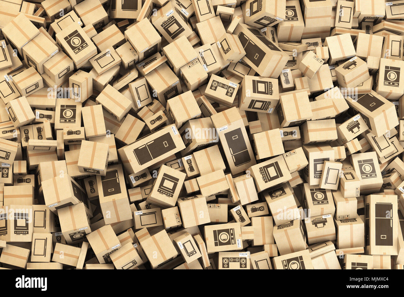 Background from cardboard boxes with household kitchen appliances ...
