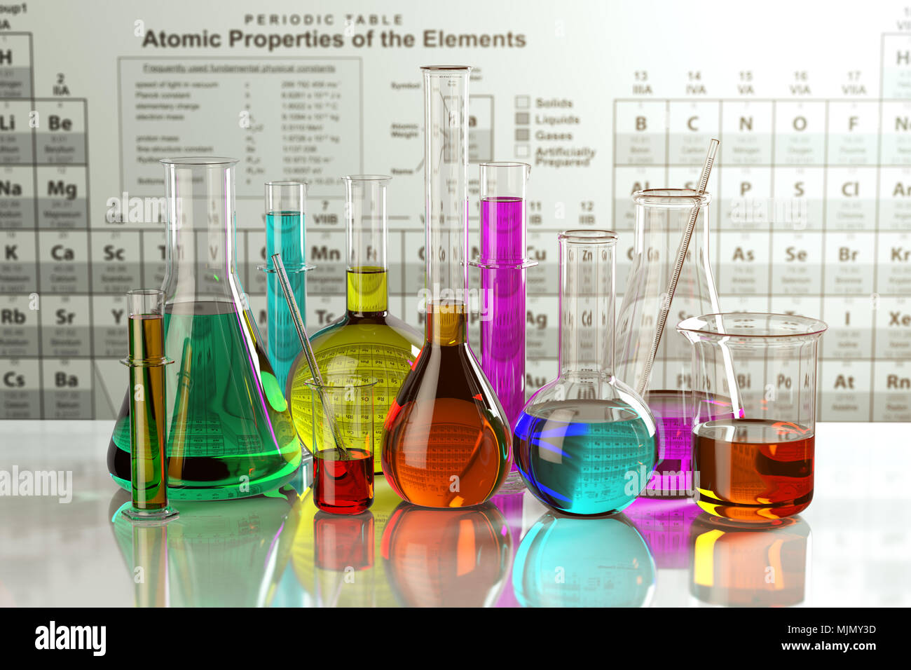 Test glass flasks and tubes with colored solutions on the periodic test glass flasks and tubes with colored solutions on the periodic table of elements laboratory glassware science chemistry and research concept 3d urtaz Images