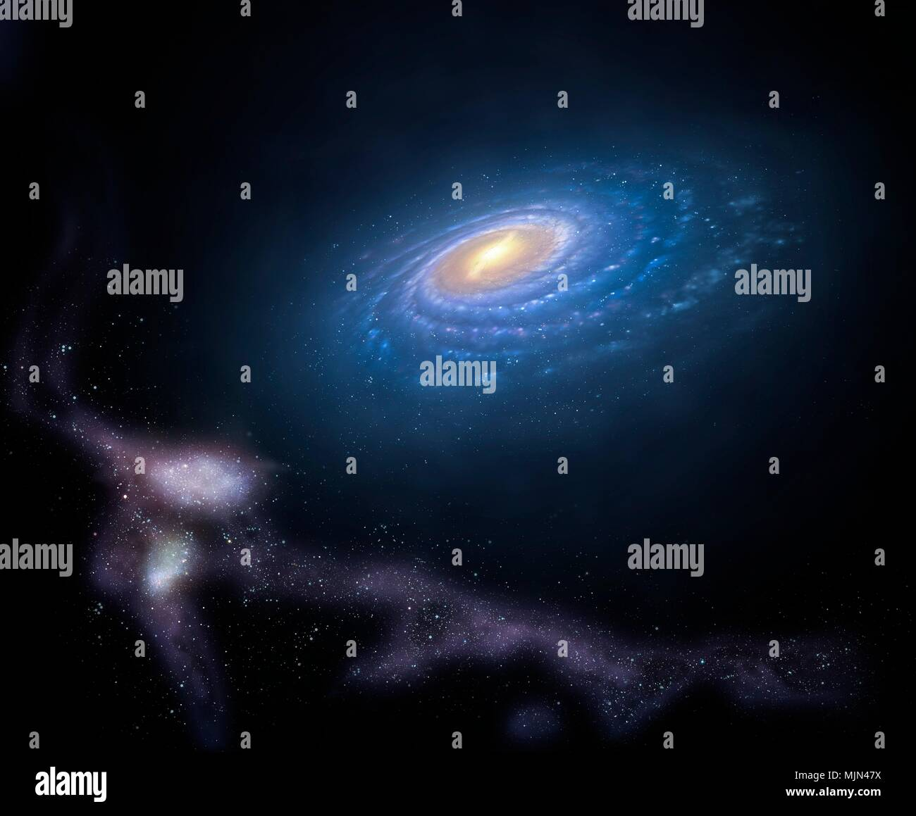 Illustration Of The Milky Way S So Called Magellanic Stream This Is A Stream Of Fast Moving Gas Clouds Orbiting Our Galaxy Associated With The Two Small Galaxies Called The Magellanic Clouds As These Galaxies