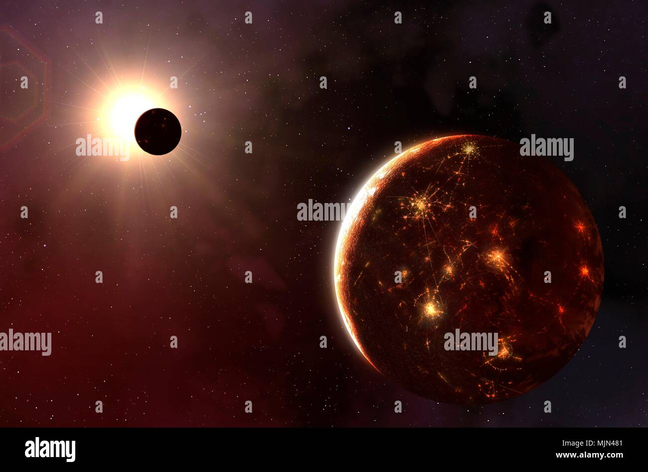 Artwork of alien technological planet. The planet is in orbit around a red dwarf star, the most common type. The red dwarf is relatively sedate, making the environment of its habitable zone conducive to life. The planet is shown with its night side brilliantly lit by major cites and technology. - Stock Image