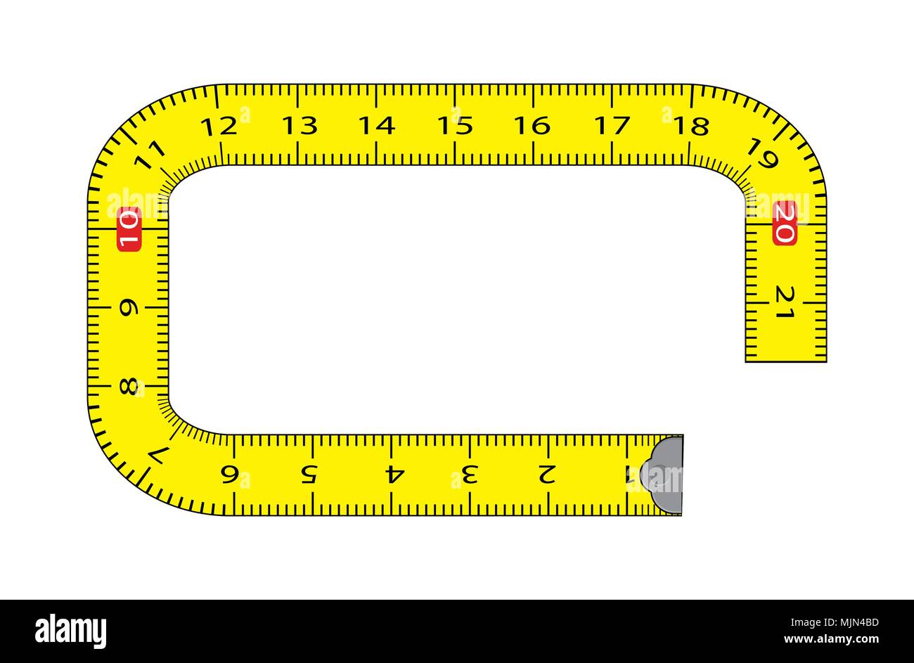 cartoon measure tape frame isolated on white background - Stock Vector