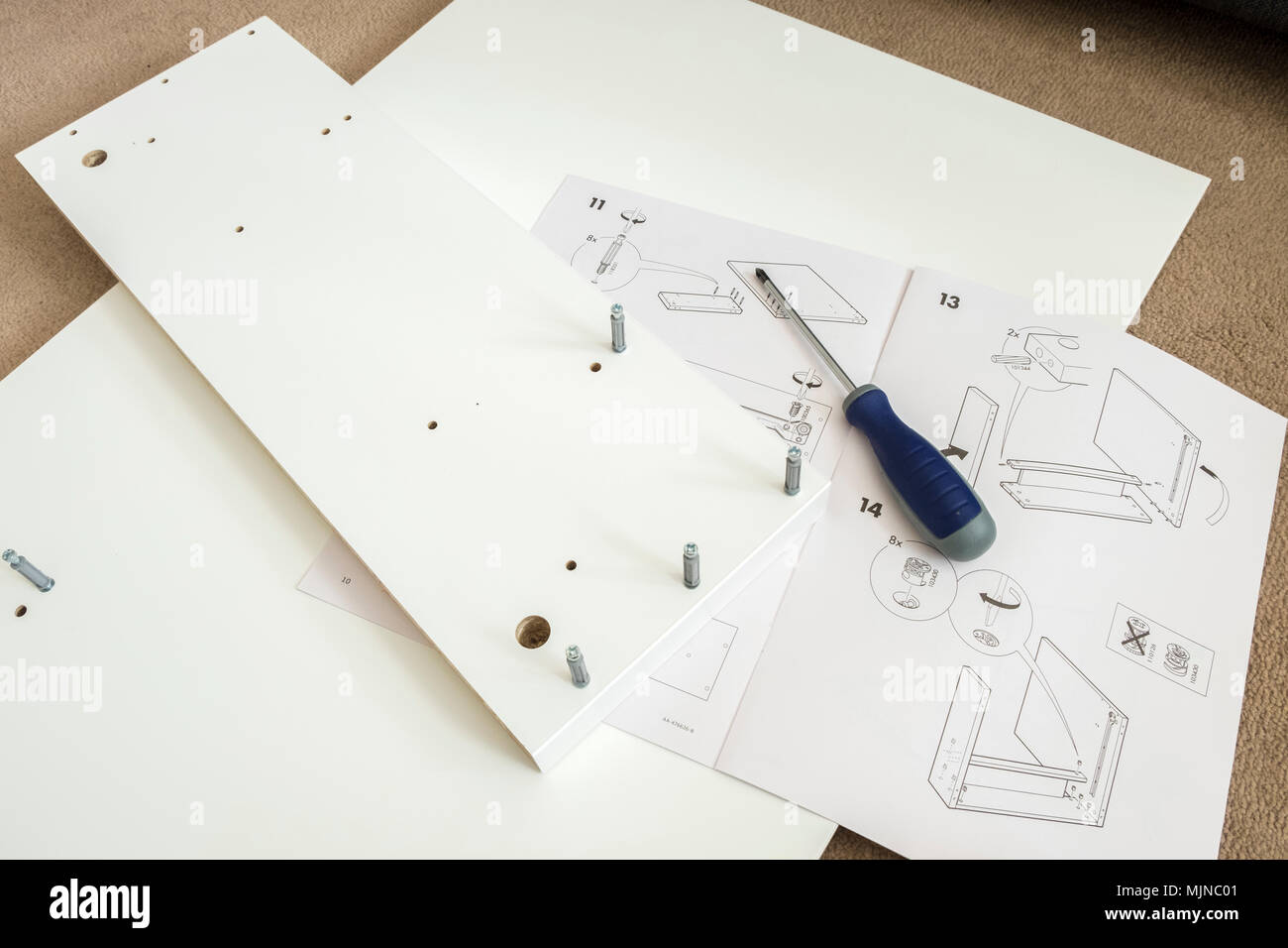 Ikea self assembly furniture instructions and tools - Stock Image