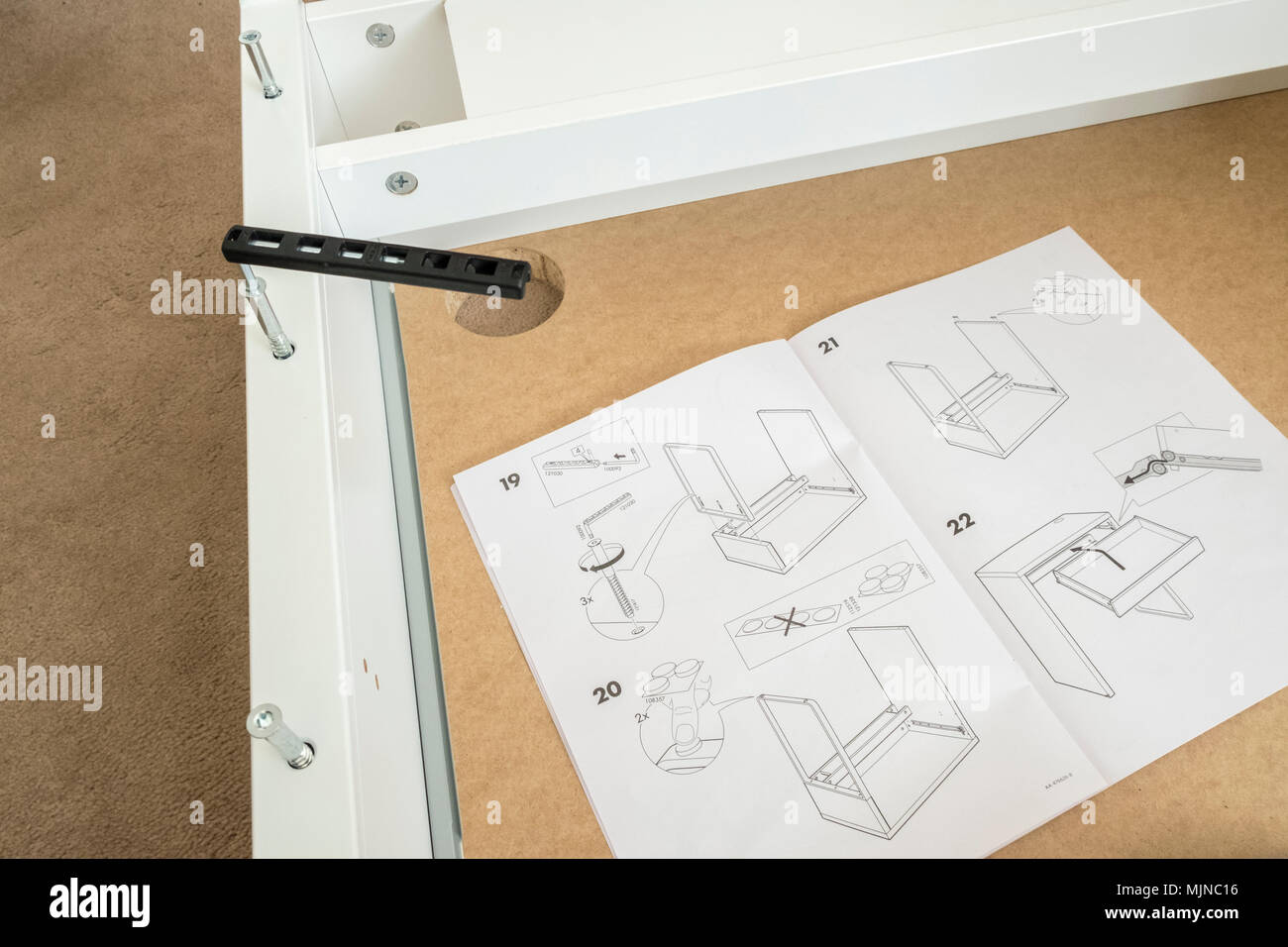 Ikea self assembly furniture instructions and supplied tool - Stock Image