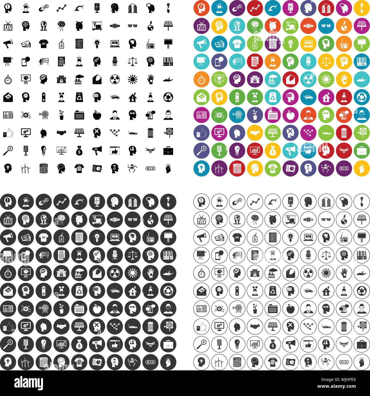 100 idea icons set vector variant - Stock Image