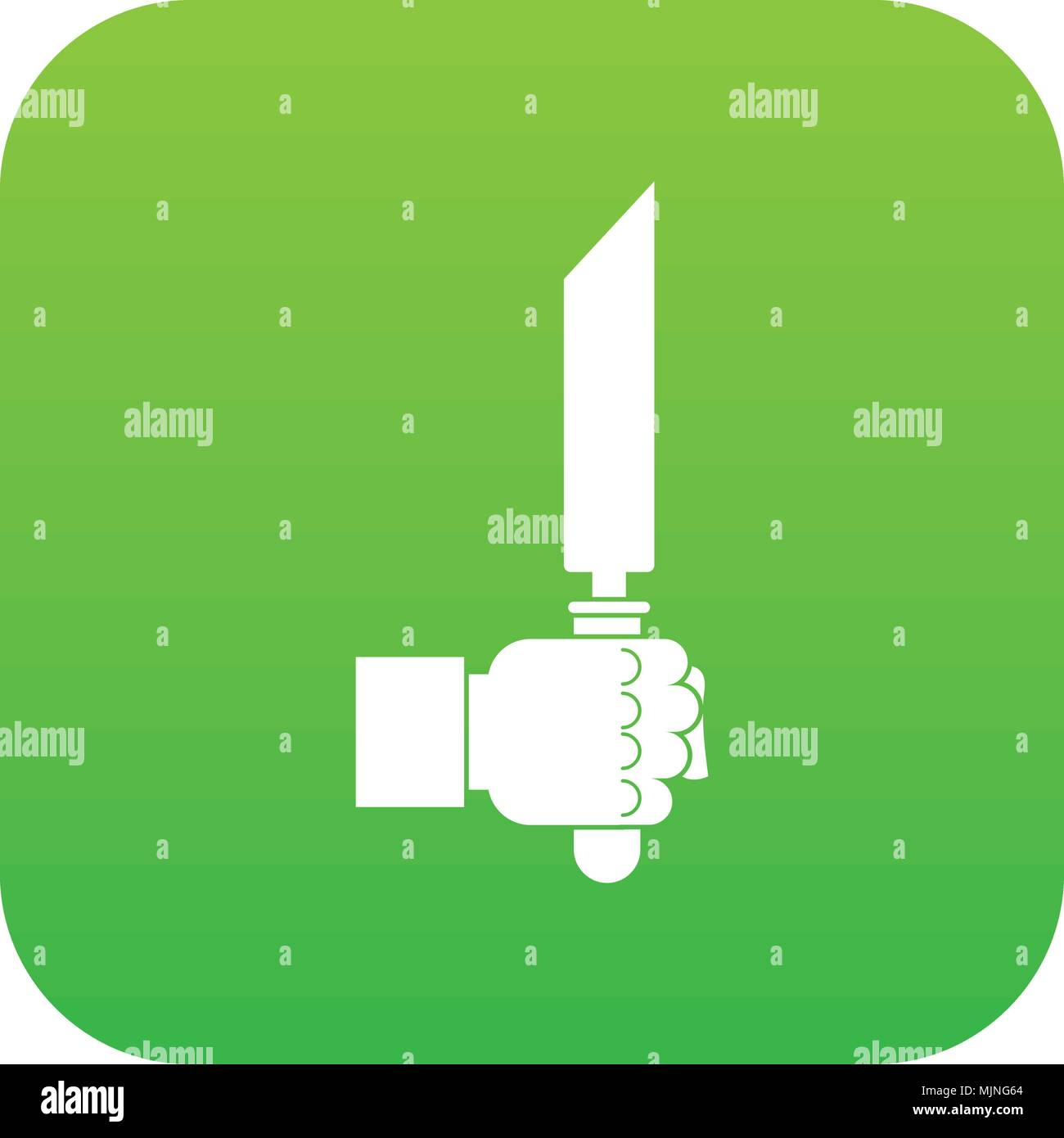 Pincer or plier in man hand icon digital green - Stock Image