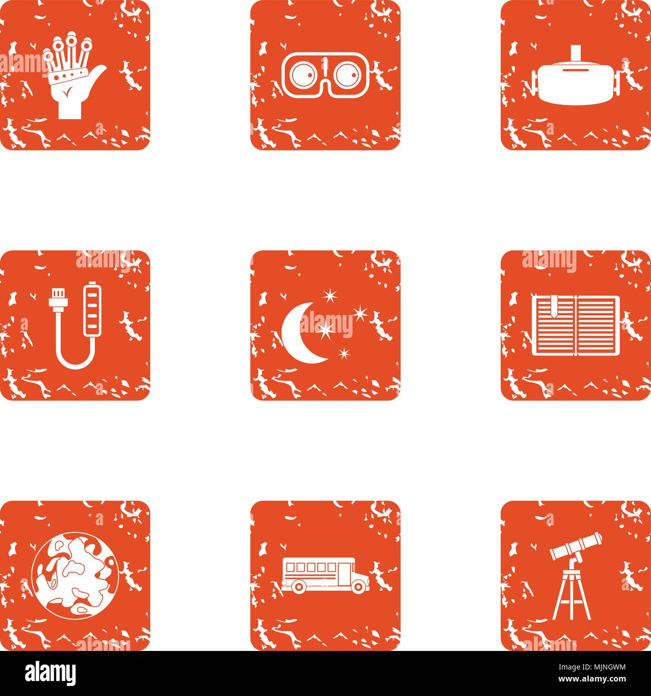 Contemplation icons set, grunge style - Stock Vector