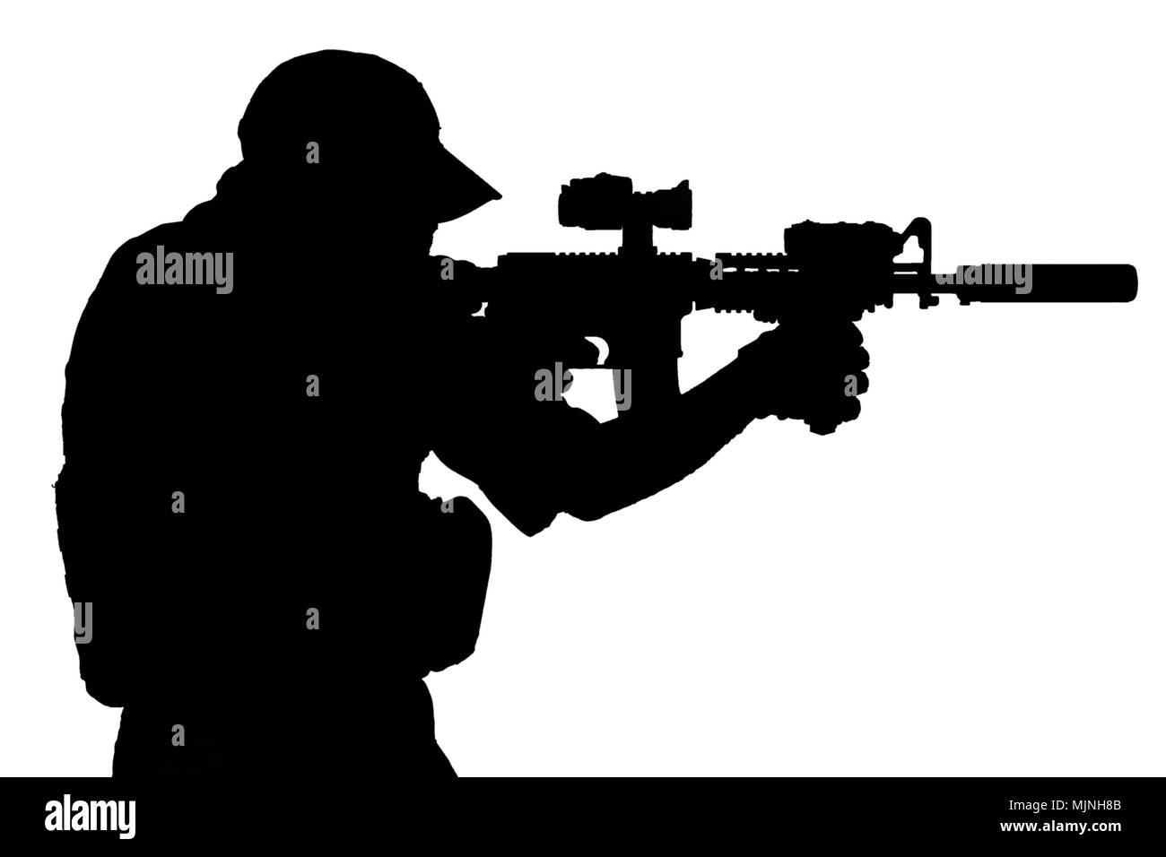 special forces operator with assault rifle black silhouette - Stock Image