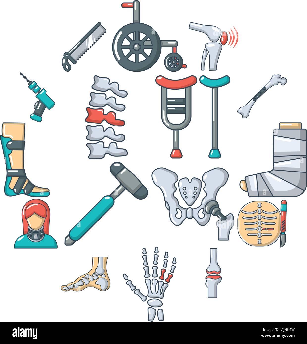 Orthopedist bone tools icons set, cartoon style - Stock Image