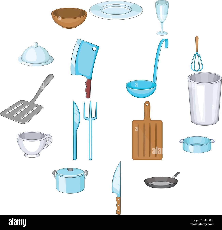 Basic dishes icons set, cartoon style Stock Vector