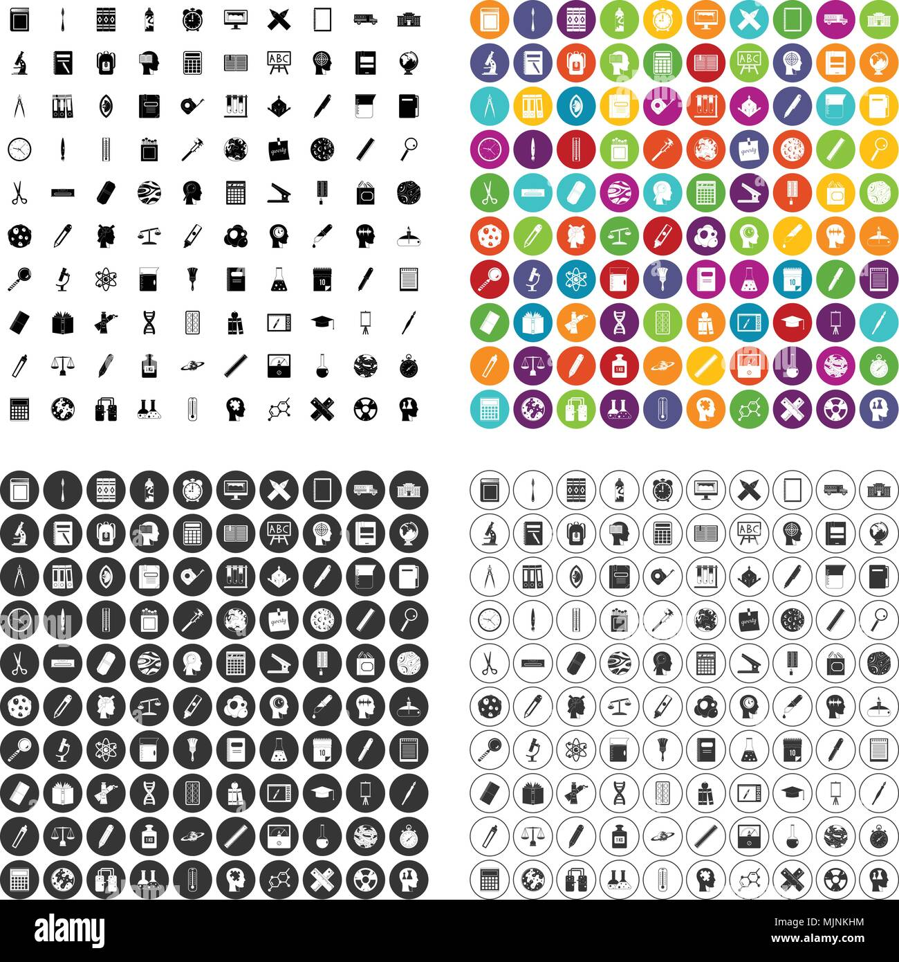 100 learning icons set vector variant - Stock Image