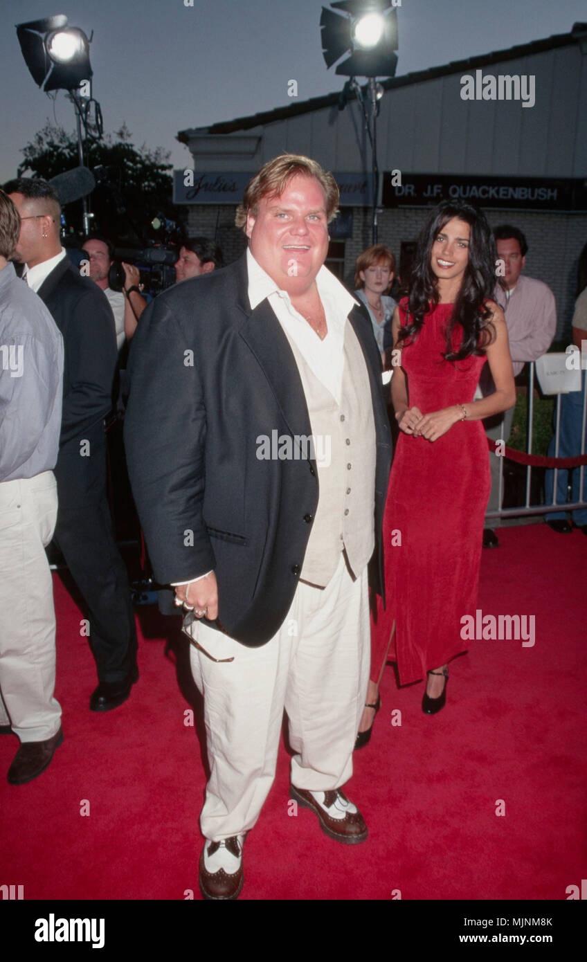 25 Aug 1997, Westwood, Los Angeles, California, USA --- Original caption: 8/25/1997-LOS ANGELES, CA: Chris Farley and friend attend the premiere of 'Excess Baggage' at the Mann's Village Theater. --- ' Tsuni / USA 'Chris Farley Chris Farley Celebrities fashion / Full length from the Red Carpet-1994-2000, one person, Vertical, Best of, Hollywood Life, one person, Vertical, Best of, Hollywood Life, Event in Hollywood Life - California,  Red Carpet Event, Vertical, USA, Film Industry, Celebrities,  Photography, Bestof, Arts Culture and Entertainment, , , Topix - Stock Image