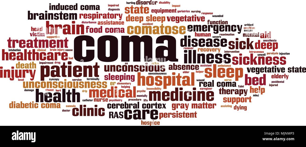 Coma word cloud concept. Vector illustration - Stock Image