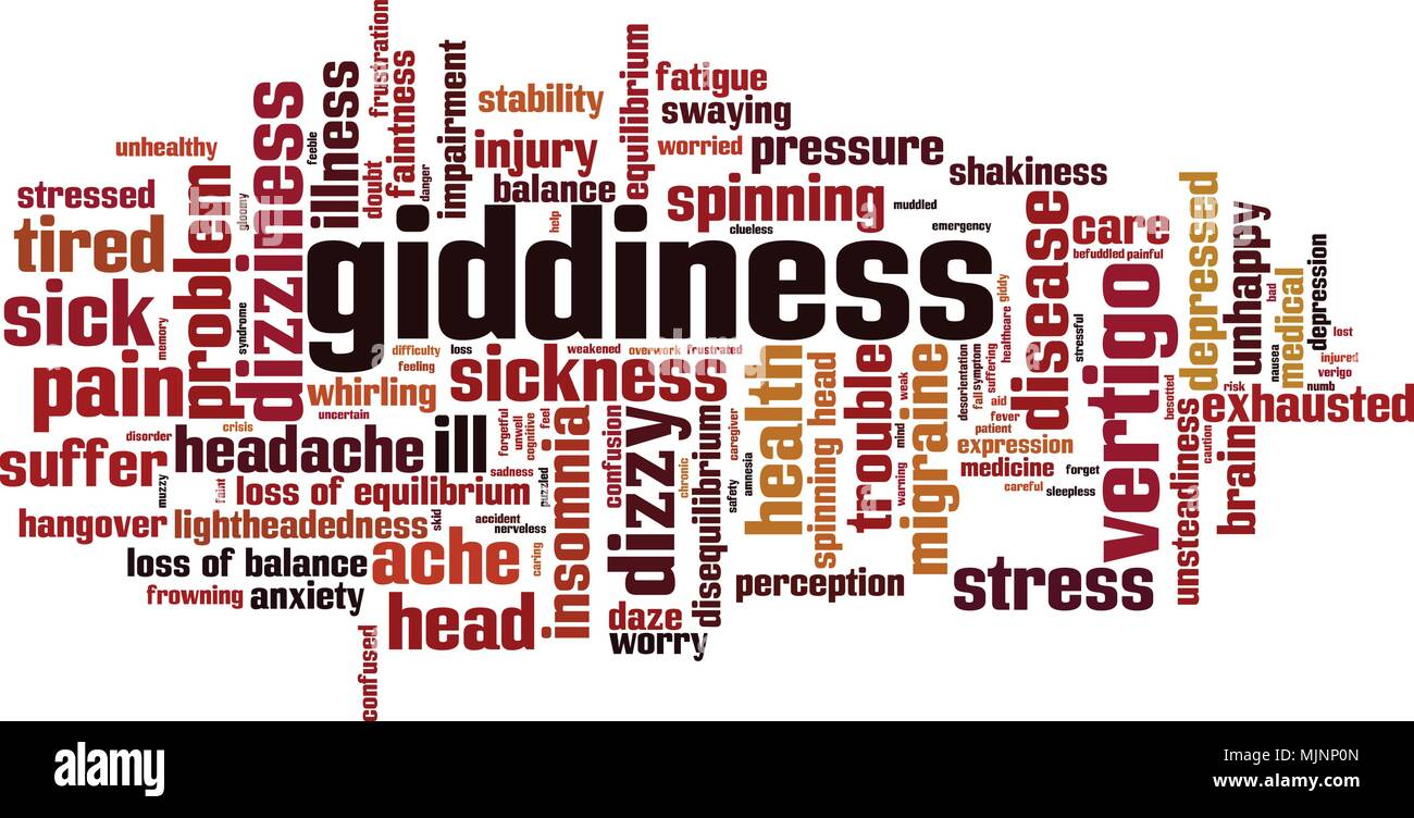Giddiness word cloud concept. Vector illustration - Stock Vector