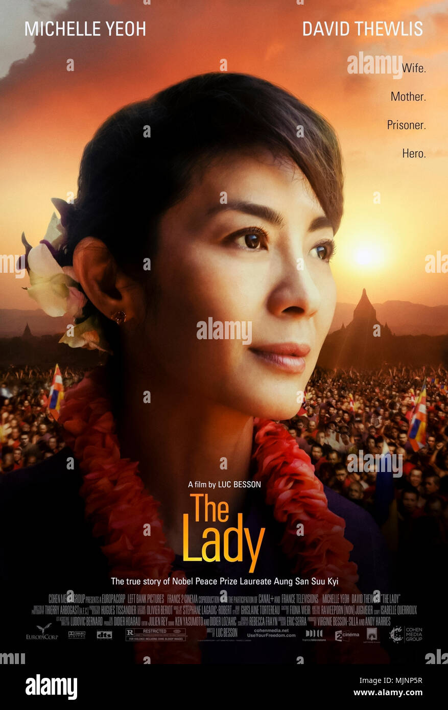 The Lady (2011) directed by Luc Besson and starring Michelle Yeoh, David Thewlis and Jonathan Raggett. Aung San Suu Kyi biopic. - Stock Image