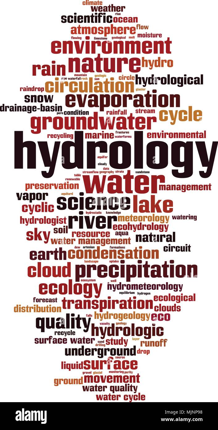 Hydrology word cloud concept. Vector illustration - Stock Image