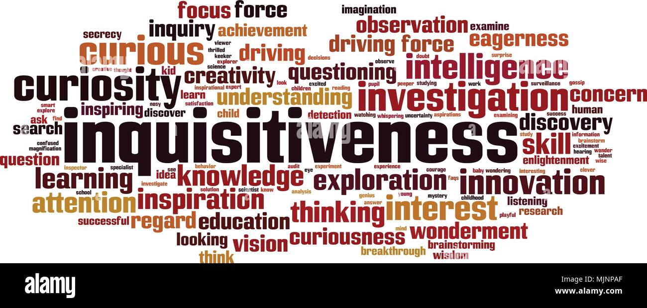 Inquisitiveness word cloud concept. Vector illustration - Stock Image
