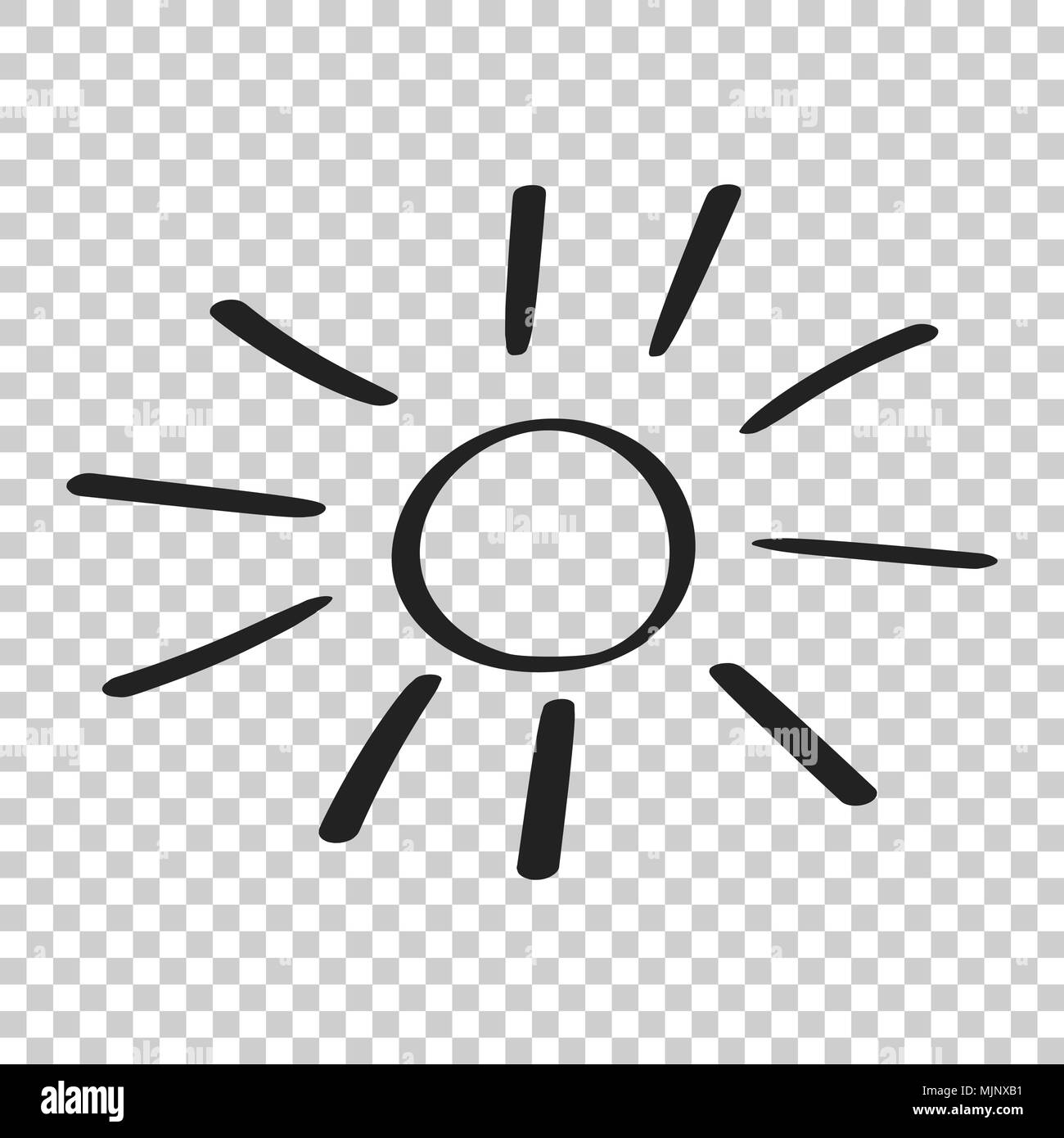 Transparent Background Hand Drawn Sun Vector Icon Sketch Doodle Illustration