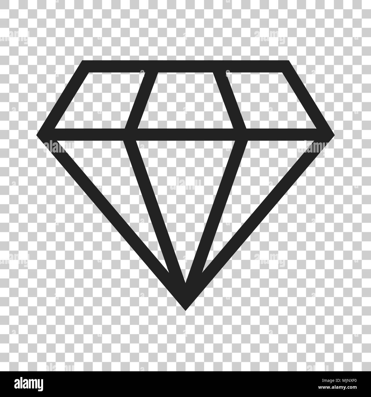 Diamond jewel gem vector icon in flat style. Diamond gemstone illustration on isolated transparent background. Jewelry brilliant concept. - Stock Image