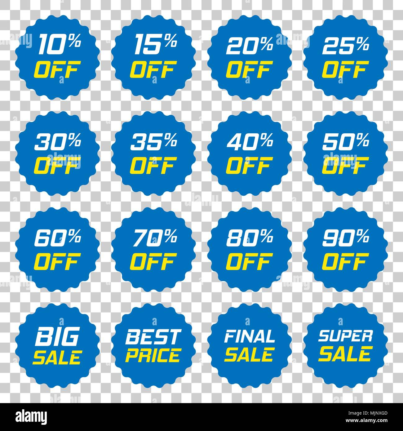 Discount stickers vector icon in flat style. Sale tag sign illustration on isolated transparent background. Promotion 10, 15, 20, 25, 30, 35, 40, 50,  - Stock Vector