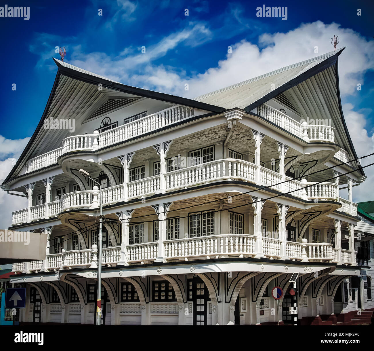 Exterior of house in the historic city of Paramaribo, Suriname. The historic inner city of Paramaribo is a UNESCO World Heritage Site since 2002. - Stock Image