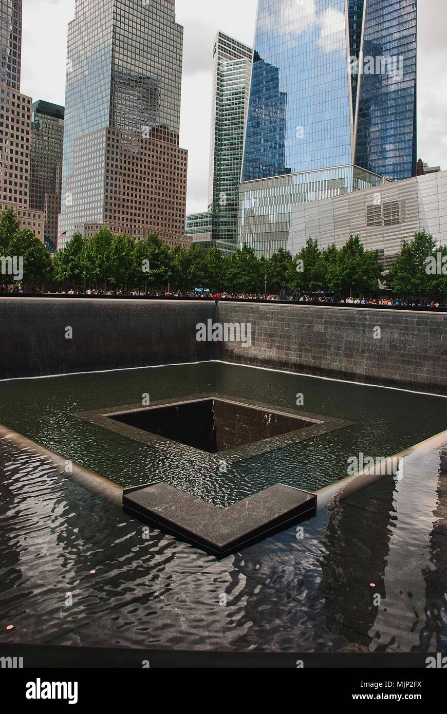 The footprint of one of the World Trade Center towers that were destroyed on 9/11 in Lower Manhattan Stock Photo