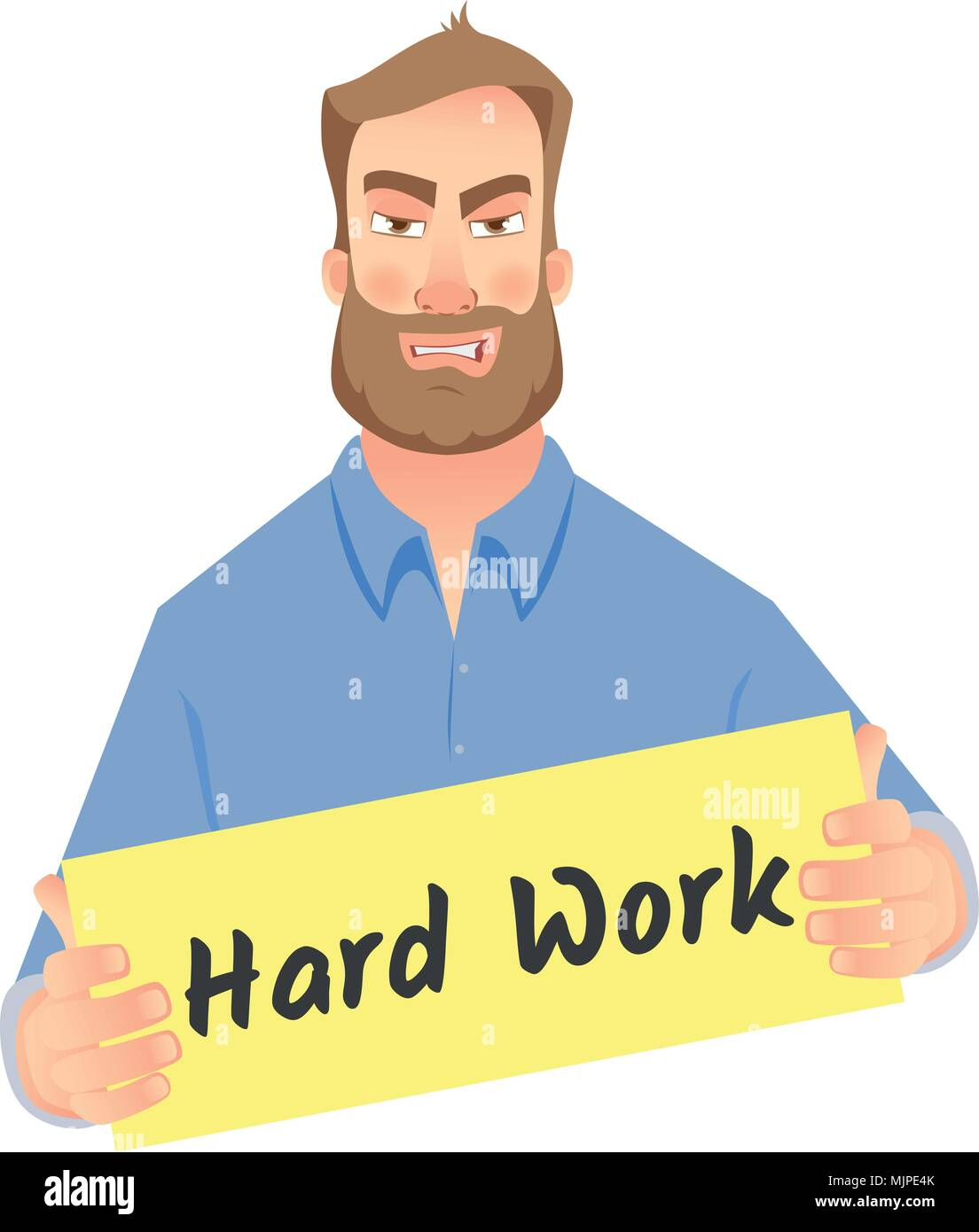 man holding hard work sign - Stock Vector