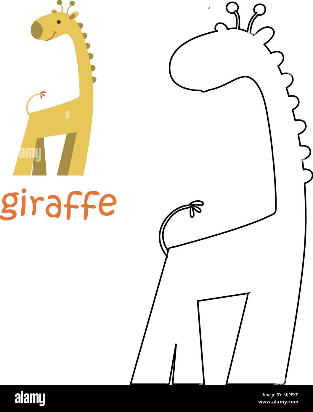 Kids coloring page - giraffe Stock Vector Art & Illustration, Vector ...