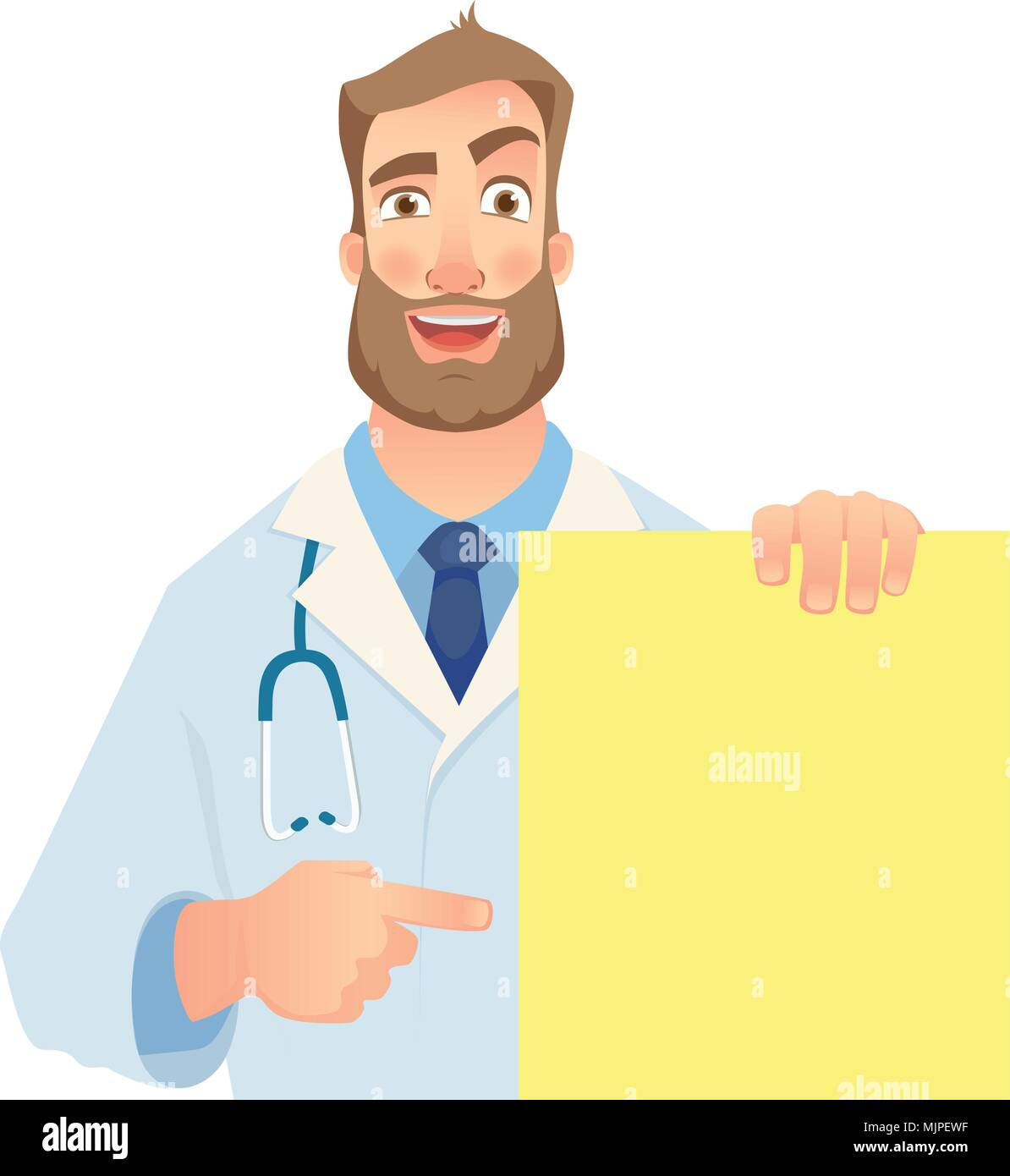 doctor holding blank banner - Stock Image