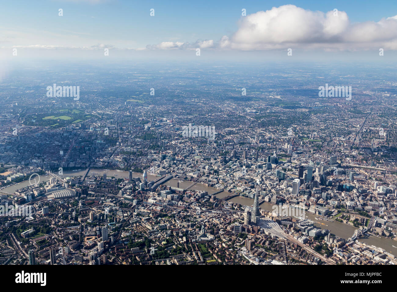 View of central London skyline looking North across the Thames Stock Photo