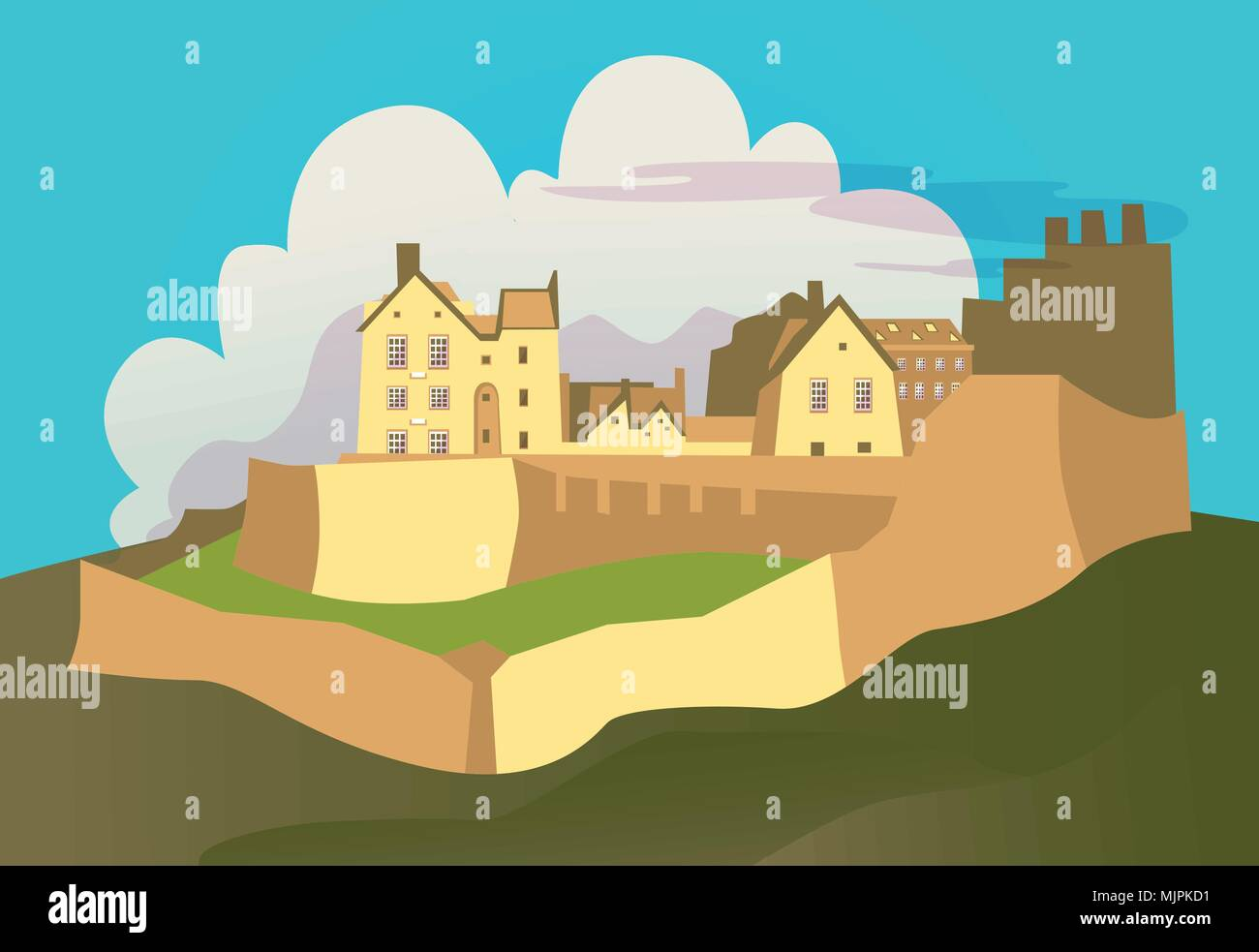 old castle in the mountains - Stock Vector