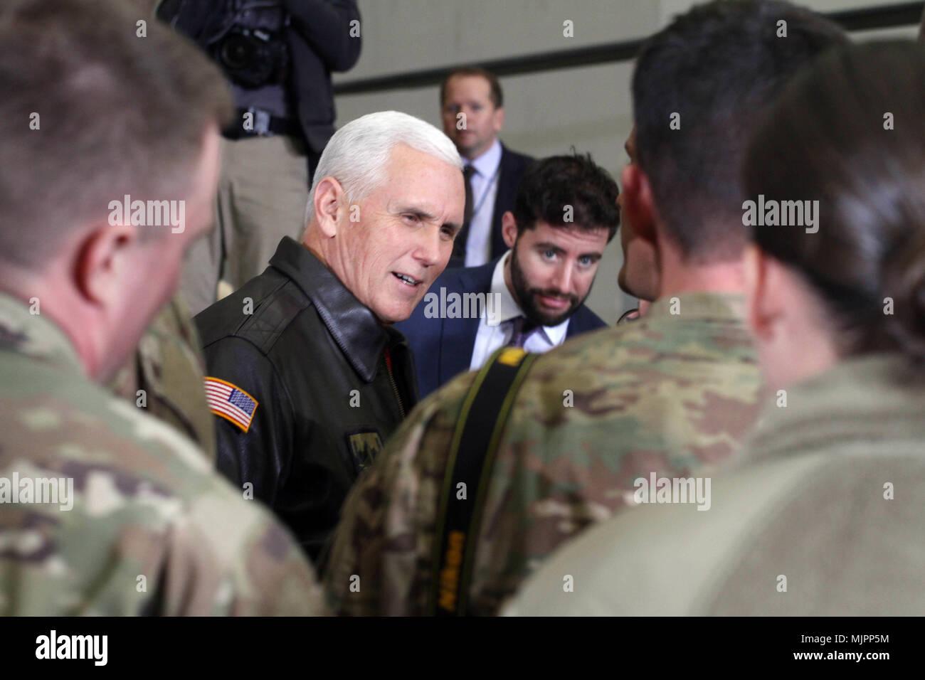 BAGRAM AIRFIELD, Afghanistan –Mike Pence greets US