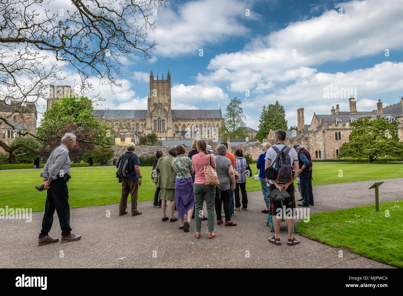 Somerset, UK, 5 May 2018. UK Weather - On a beautiful sunny Bank Holiday Saturday in Somerset, a tour guide entertains a group of tourists to the Bishops Palace gardens in Wells. Credit: Terry Mathews/Alamy Live News - Stock Image