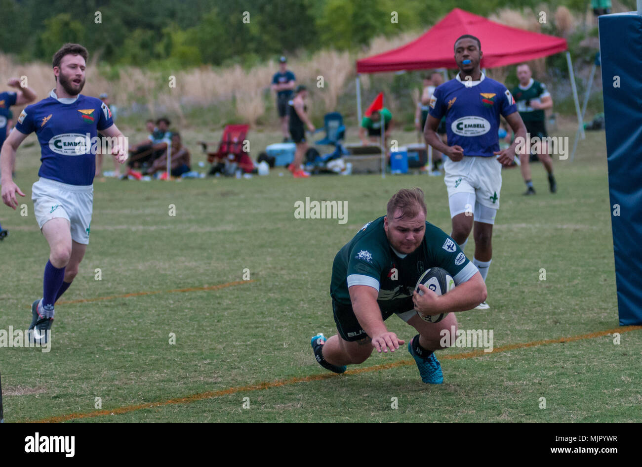 Southern Pines, N.C, USA. 13th Apr, 2018. May 5, 2018 - Southern Pines, N.C., USA - Southern Pines Big Cones Trey Eason has plenty of room for a try during a match between Southern Pines and New Orleans at the 2018 Division 2 Southern Conference Rugby Championships at the National Athletic Village. Southern Pines defeated New Orleans, 71-12 in the Round of 32 to advance to the Southern Conference Championship tomorrow. Credit: Timothy L. Hale/ZUMA Wire/Alamy Live News - Stock Image