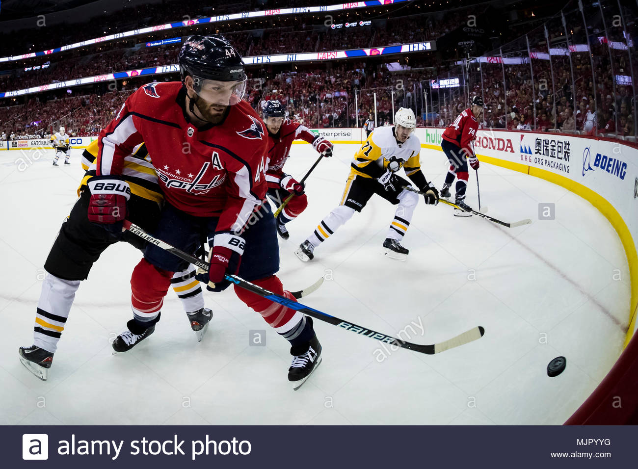 Washington Capitals defenseman Brooks Orpik (44) battles for the puck  during the third period of the playoff game between the Pittsburgh Penguins  and the ... 4f4cb872d4f