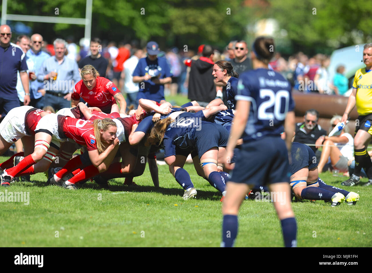 London, UK, 5 May 2018. British Army and Royal Navy players locked into a scrum during the annual women's annual inter-service competition match at Kneller Hall, London, UK.  The match was won by the British Army, 72-3.    In 2003 a Women's Inter-Service Competition was introduced to run alongside the men's competition. The inaugural competition was won by the Army and since its inception they'v Credit: Michael Preston/Alamy Live News - Stock Image