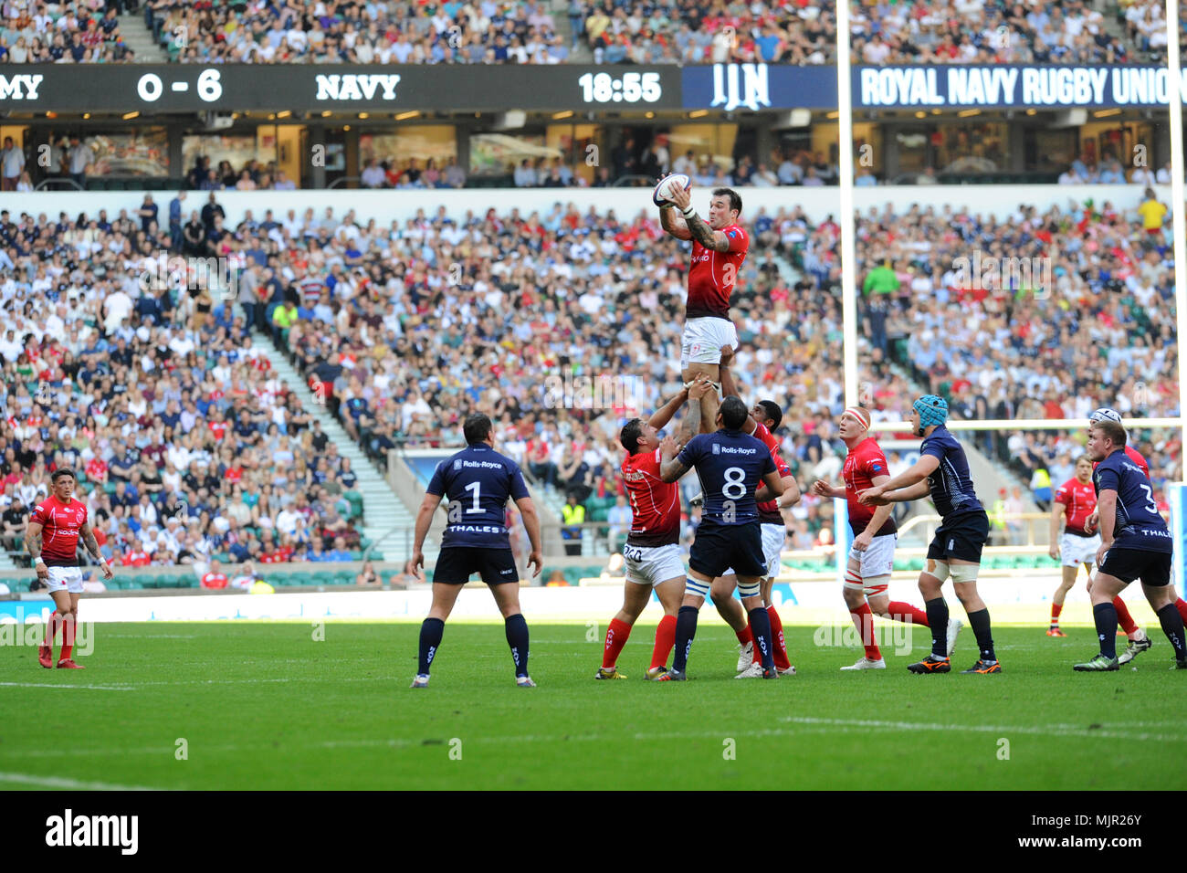 London, UK, 5 May 2018. Lewis Bean (Army, Corporal, Lock) catching the ball during a throw in at the annual Army V Navy for the Babcock Trophy match at Twickenham Stadium, London, UK.  The match was won by the British Army, 22-14.   Credit: Michael Preston/Alamy Live News - Stock Image