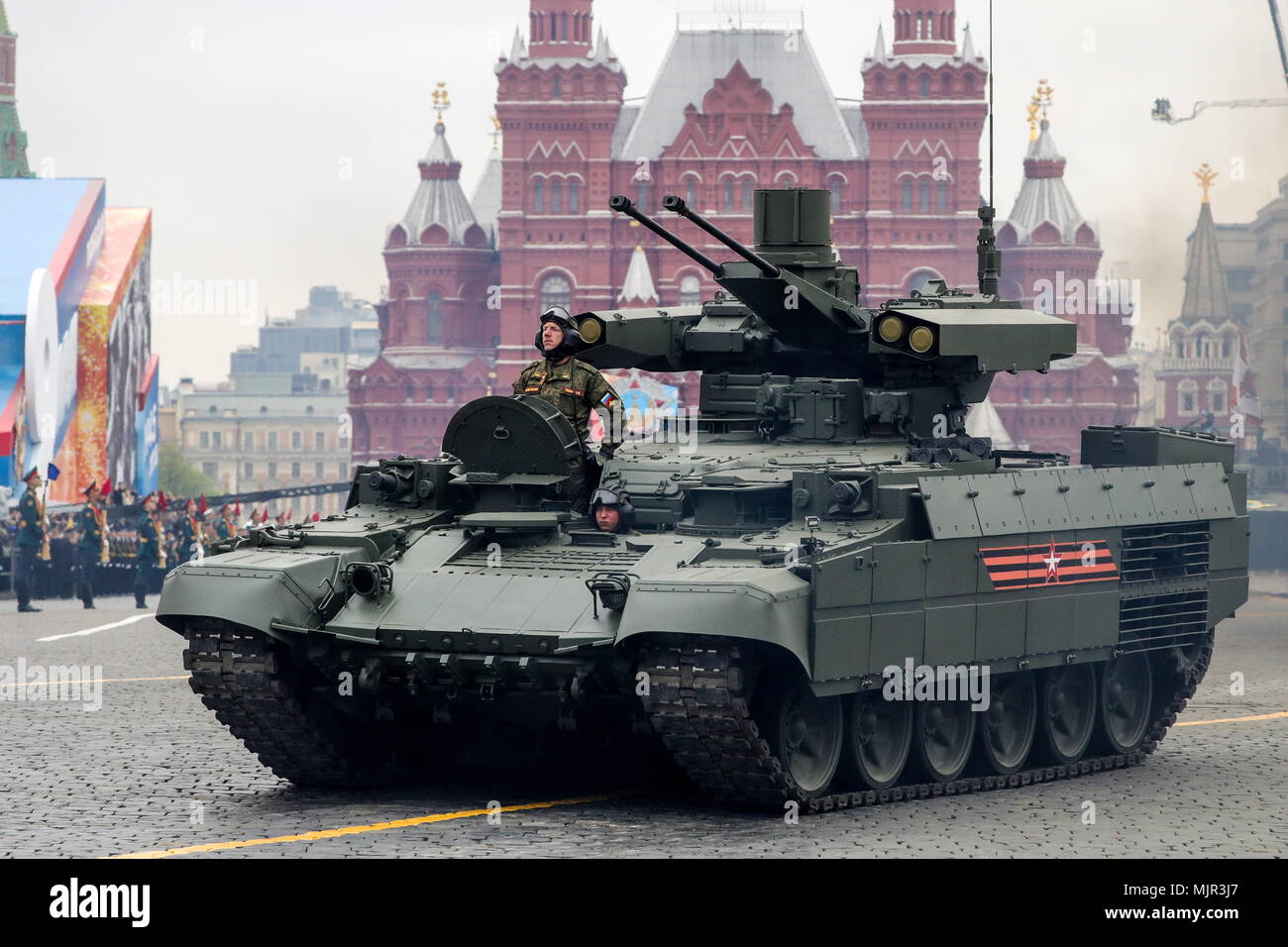 Moscow, Russia. 06th May, 2018. A BMPT Terminator-2 armoured fighting vehicle seen in Moscow's Red Square during a dress rehearsal of the upcoming 9 May military parade marking the 73rd anniversary of the victory in the Great Patriotic War, the Eastern Front of World War II. Sergei Bobylev/TASS Credit: ITAR-TASS News Agency/Alamy Live News - Stock Image