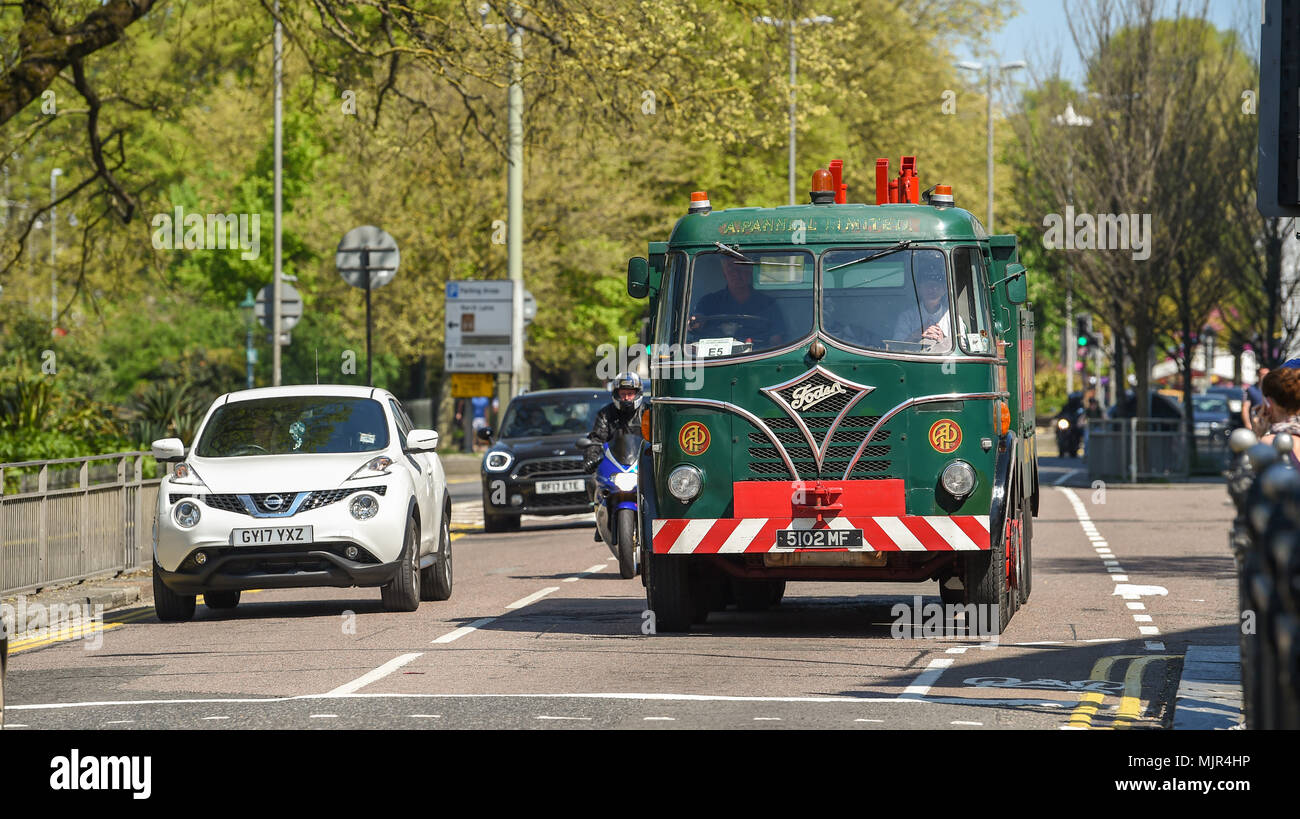 Brighton UK 6th May 2018 - Old commercial vehicles arrive in Brighton after completing the annual London to Brighton Historic Commercial Vehicle Run which takes place every 1st Sunday in May Photograph taken by Simon Dack Credit: Simon Dack/Alamy Live News Stock Photo