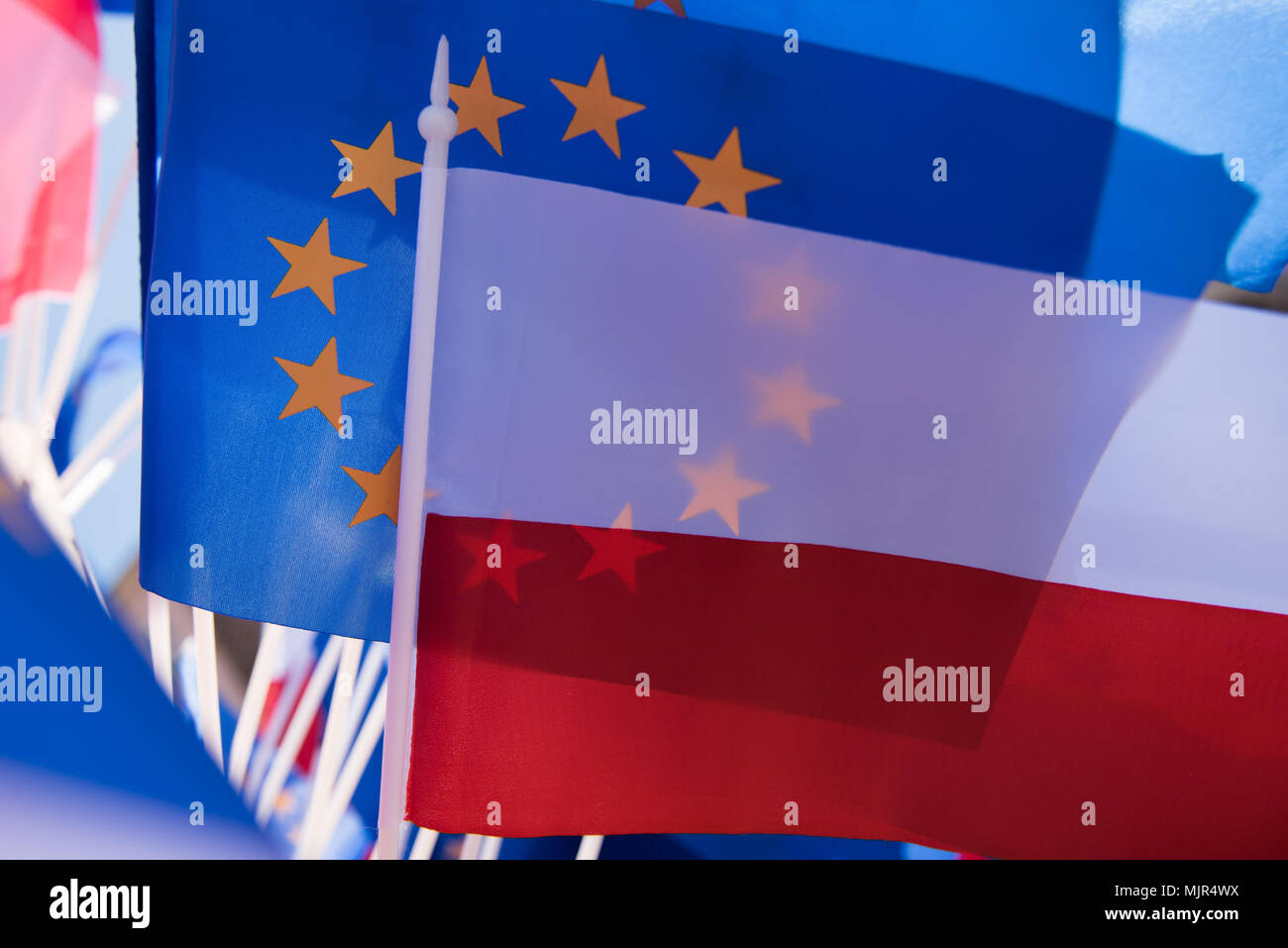 Krakow, Poland, 6 Mar 2018. Polish and European Union flags are seen during the Festival of Europe, ahead of Europe's day in Krakow. Credit: SOPA Images Limited/Alamy Live News - Stock Image