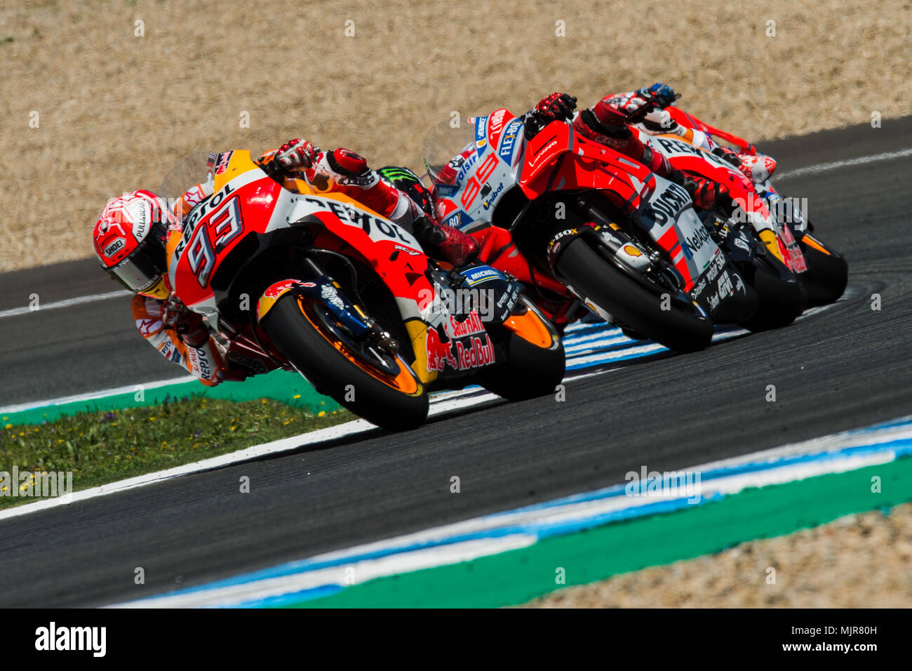 2793d664c03c2 Marc Marquez (93) of Spain and Repsol Honda Team and Jorge Lorenzo (99