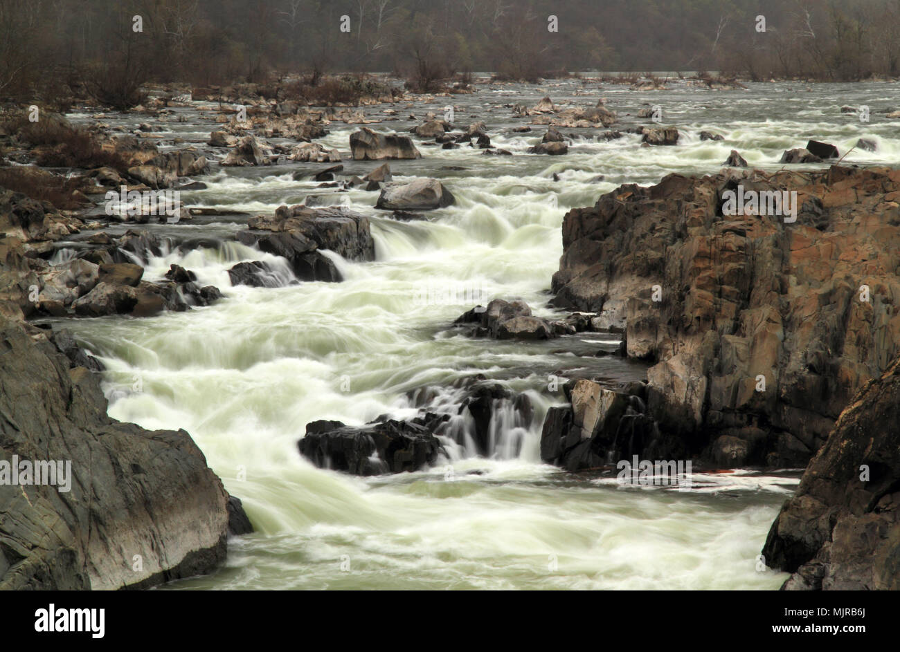 Great Falls of the Potomac as viewed from Great Falls Park in the state of Virginia - Stock Image