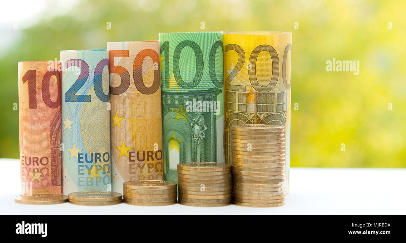 Ten, twenty, fifty, one hundred, two hundred and coins euro