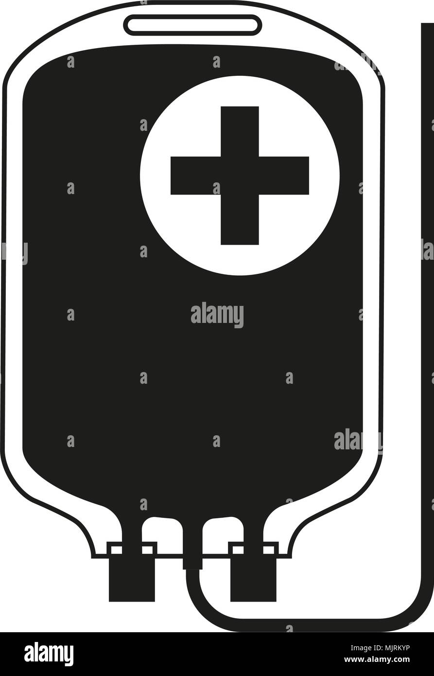 Black and white IV medicine bag silhouette. Healthcare themed vector illustration for icon, sticker, sign, patch, certificate badge, gift card, stamp  - Stock Vector