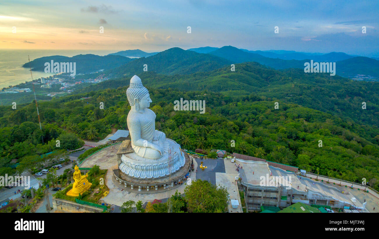 Phuket Big Buddha is one of the island most important and revered landmarks on the island. - Stock Image