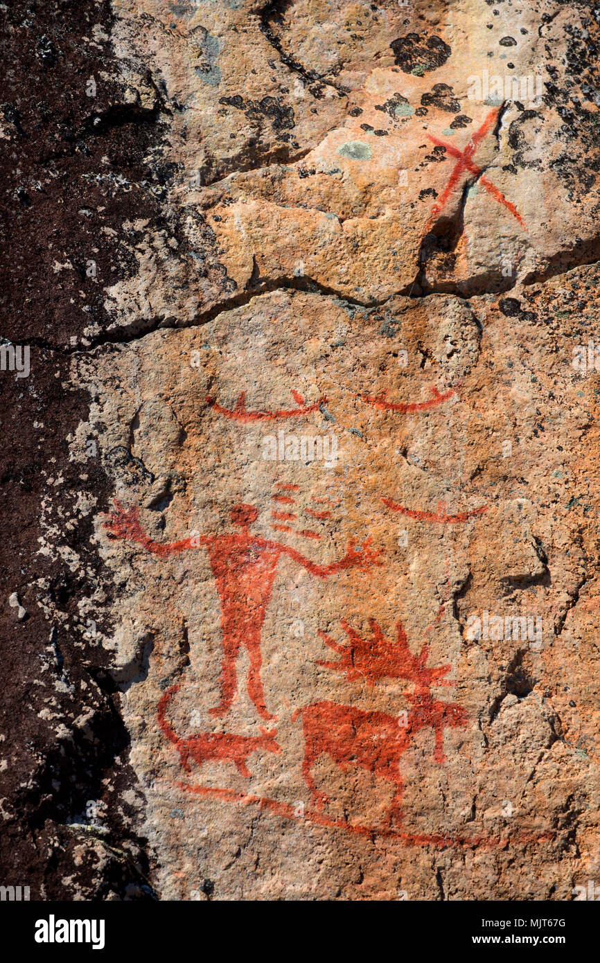 Pictographs on North Hegman Lake, Boundary Waters Canoe Area Wilderness, Superior National Forest, Minnesota - Stock Image