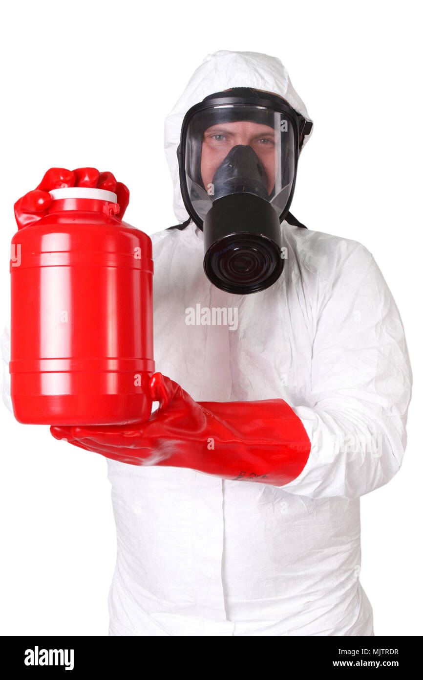 Man in a hazmat suit with red container dangerous material isolated on white Stock Photo