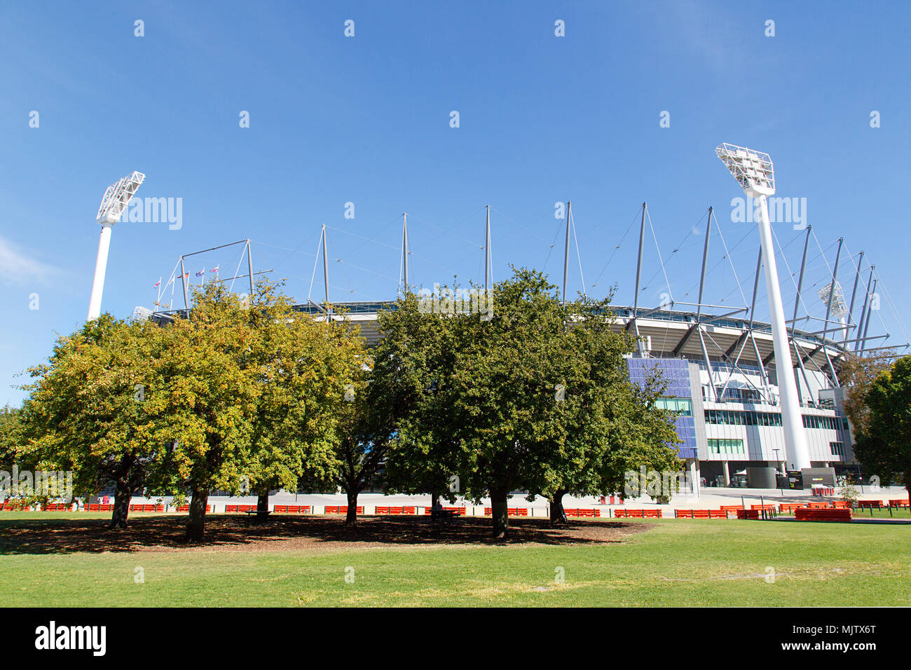 Melbourne, Australia: April 09, 2018: Melbourne Cricket Ground known as the MCG has a seating capacity of over 100,000  is located in Yarra Park. - Stock Image