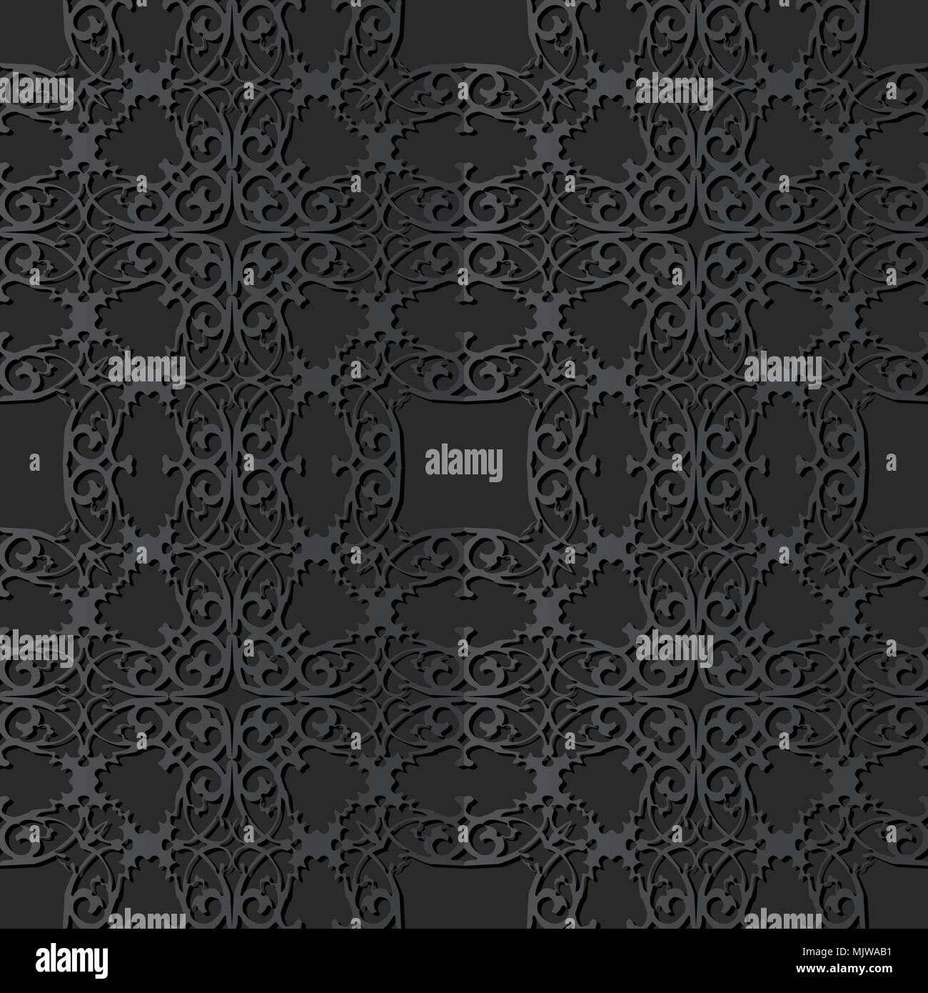 3D dark paper art Spiral Curve Cross Royal Frame Crest, Vector stylish decoration pattern background for web banner greeting card design - Stock Image